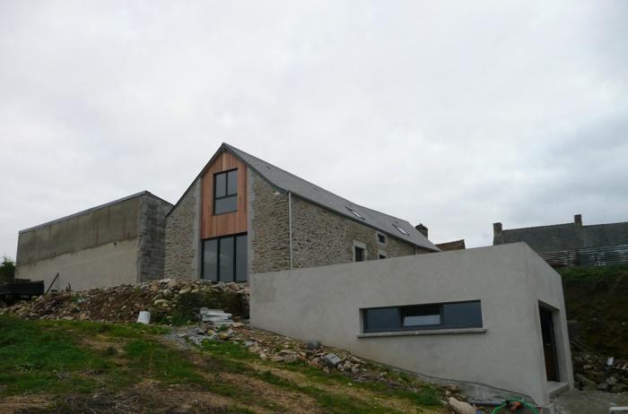 Transformation d'une grange en habitation : PROJET vue nord