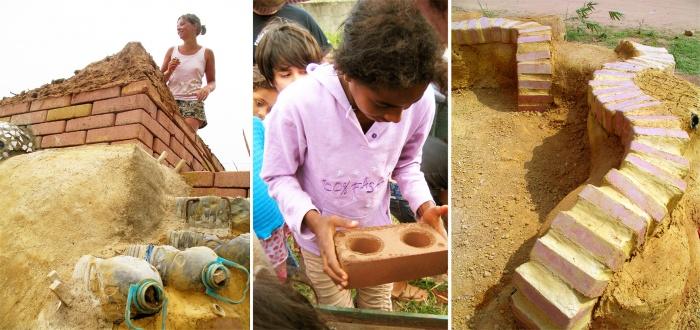 Fabrique temporaire de briques de terre comprimée et développement des techniques alternatives de construction