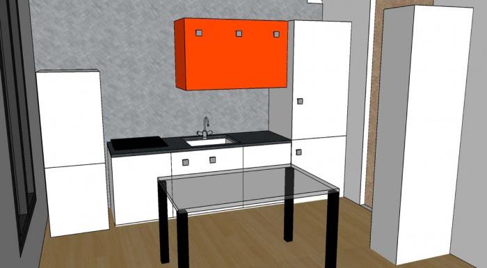 Esquisse d'une cuisine et aménagement du salon