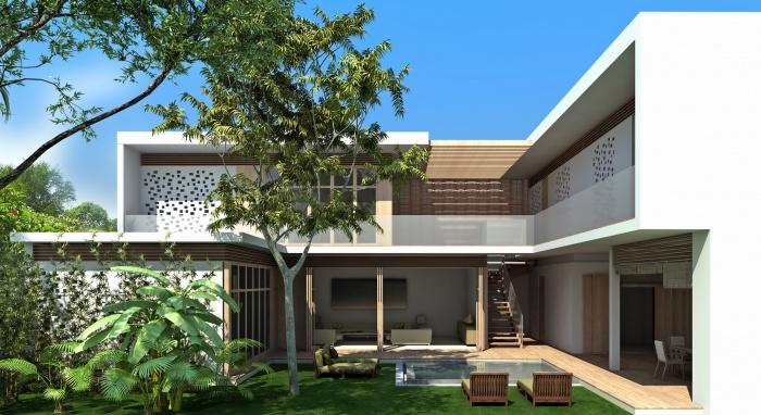 Ensemble résidentiel : patio type 1