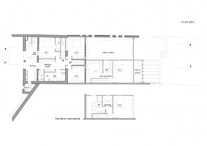 Loft avec Piscine Intérieur : plan r+1