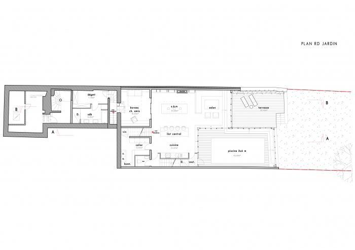 Loft avec Piscine Intérieur : plan rdc