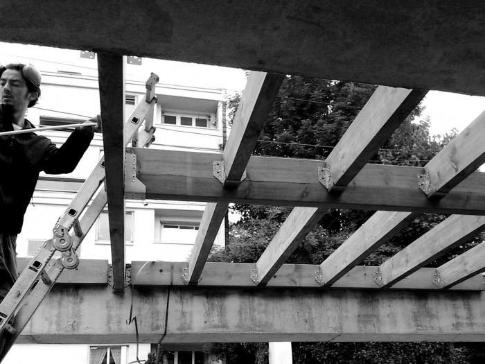 Maison sur le Pont (94) : Chantier : ossatures bois