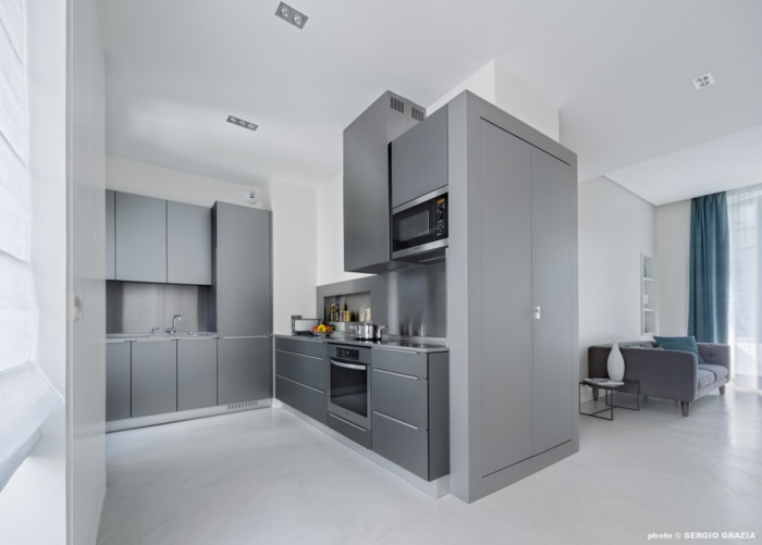 Appartement contemporain à Saint Germain des Prés : Cuisine - séjour