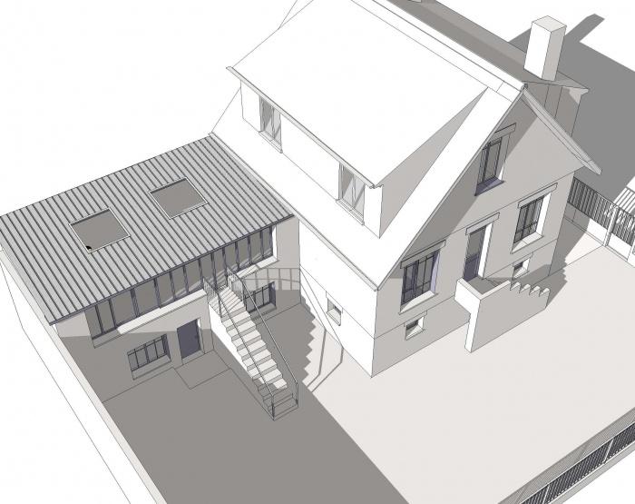 Extansion d'une maison à Aulnay sous Bois : 3d avec verrière totale