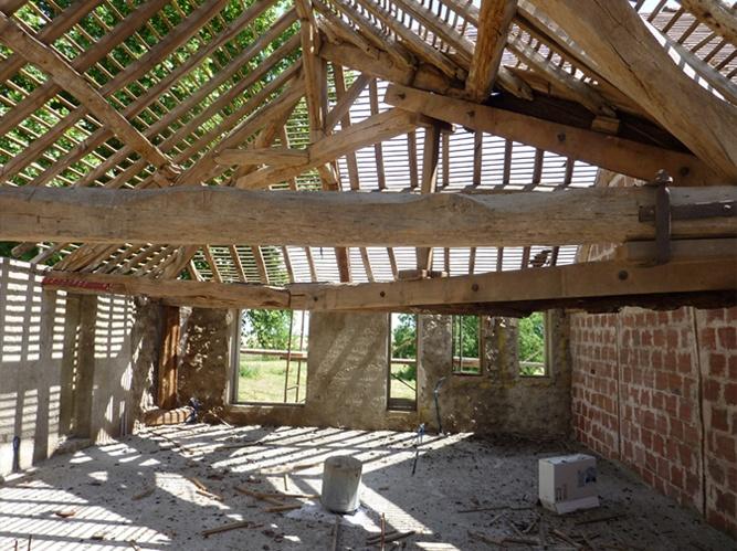 Transformation d'une grange en loft : Chantier toiture